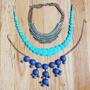 Set of 3 Blue Tone Necklaces